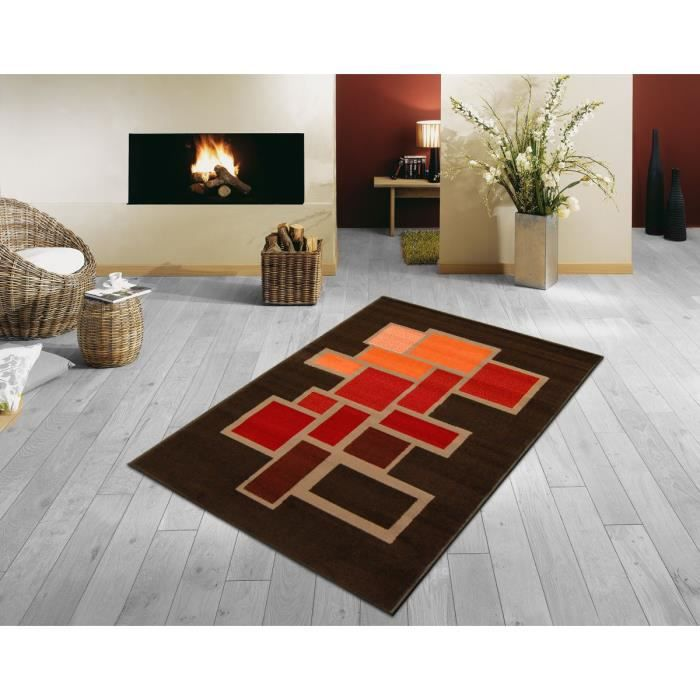 tapis paris salon marron orange bordeaux 120x160 cm achat vente tapis cdiscount. Black Bedroom Furniture Sets. Home Design Ideas