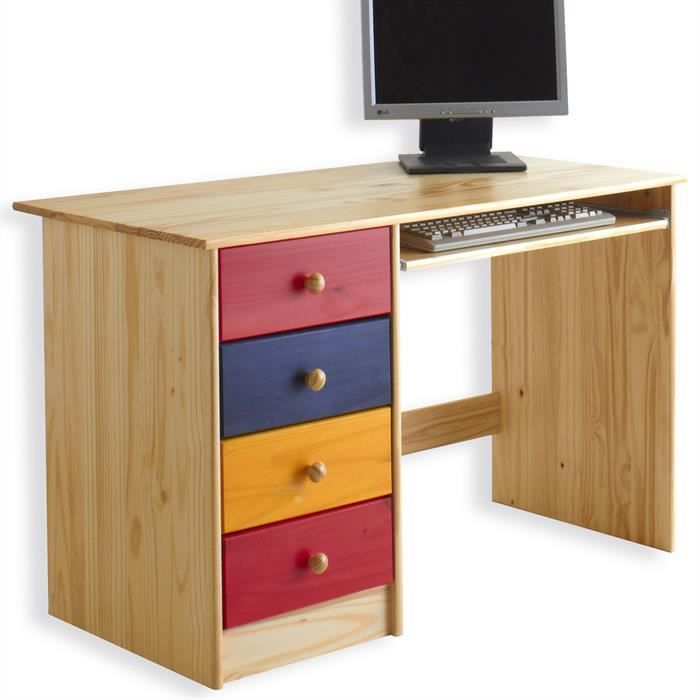 bureau enfant malte 4 tiroirs lasur multicolore achat vente bureau bureau enfant. Black Bedroom Furniture Sets. Home Design Ideas