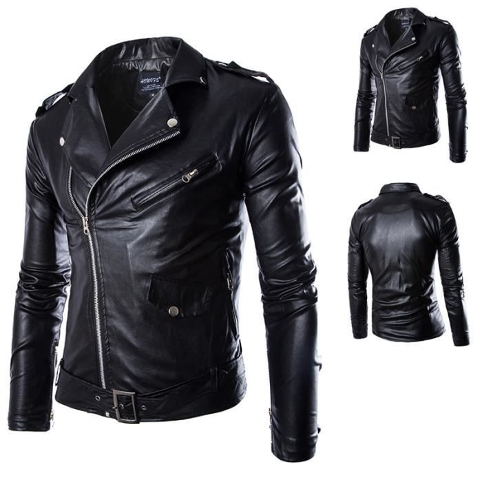 hot sales hommes veste en cuir pu blouson de moto vintage. Black Bedroom Furniture Sets. Home Design Ideas
