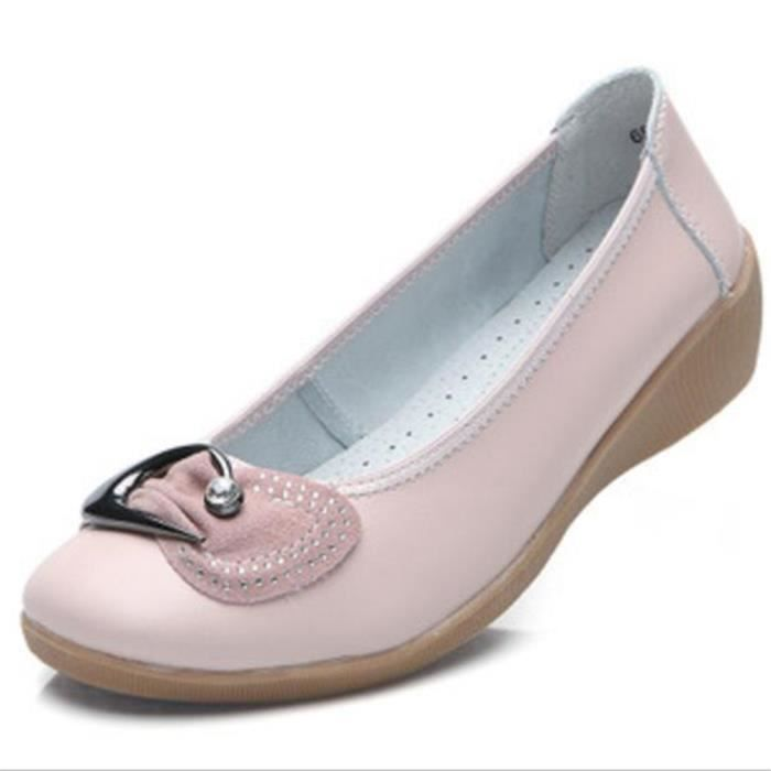 Chaussures Femme Cuir Classique Comfortable Chaussure BLKG-XZ047Rose37