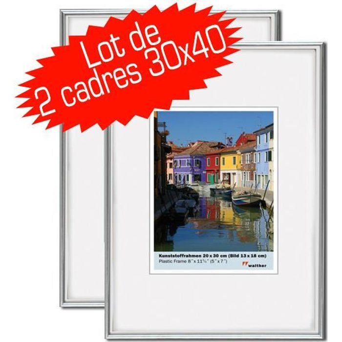 lot de 2 cadres photo galeria 30x40 cm silver achat vente cadre photo cdiscount. Black Bedroom Furniture Sets. Home Design Ideas