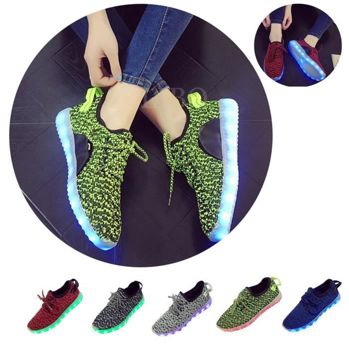 Femme Homme Chaussures Sneakers Mode Light LED f6rq6x7