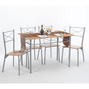 TABLE DE CUISINE  Ensemble Table à manger 110x70cm 4 chaises Panneau