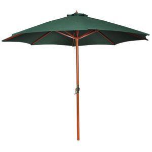 PARASOL Parasol sur pied toile verte & bois 258 cm