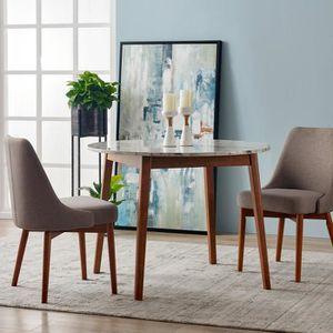 TABLE À MANGER SEULE Table à manger ronde en bois effet faux marbre bla