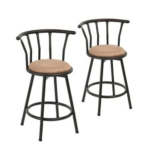 TABOURET DE BAR Lot de 2 Tabouret de Bar Pivotant Style Industriel