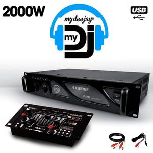 AMPLI PUISSANCE Amplificateur sono 2 x 1000W MY DEEJAY AX-2000 MyD