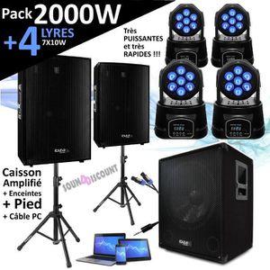 AMPLI PUISSANCE PACK SONO DJ 2000W CUBE 1512 avec CAISSON + 2 ENCE