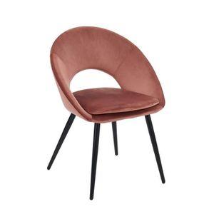 CHAISE Chaise coloris rose vintage en velours et métal -