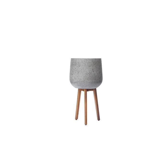 JARDINIÈRE - BAC A FLEUR Cache-pot en fibre de ciment avec pieds en bois d'