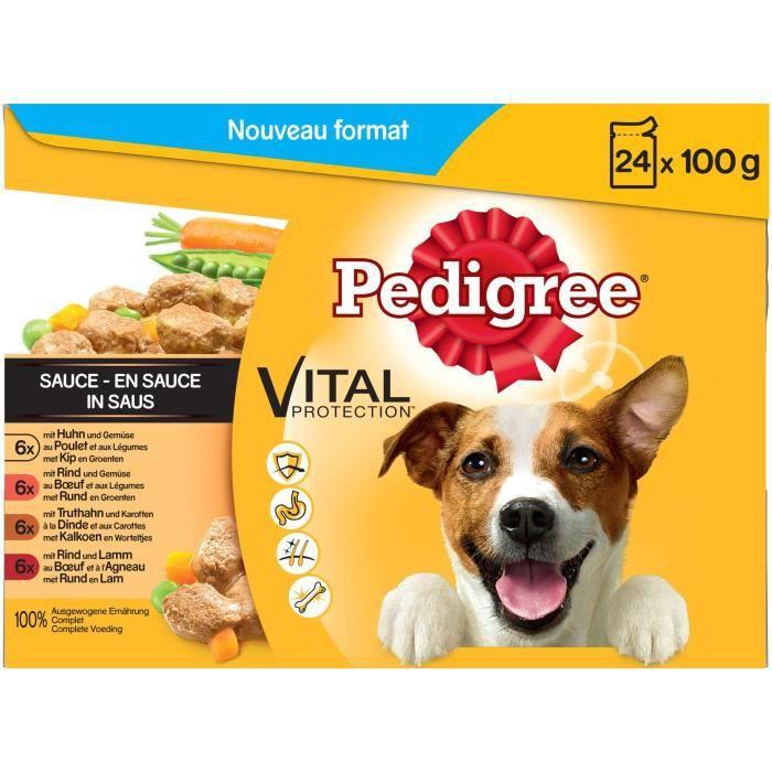 PEDIGREE Sachets fraîcheur en sauce - 4 variétés - Pour chien adulte - 24 x 100 g