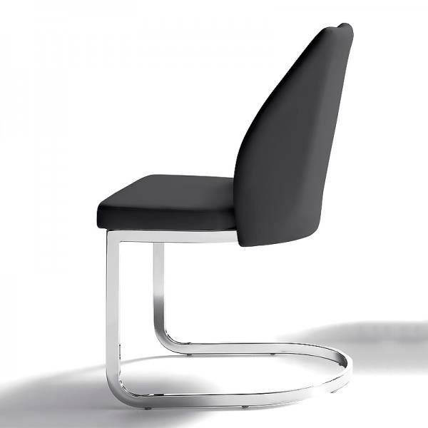 Chaise tapissée confort Épaisseur de l'assise: 6 cm, ube rectangulaire chromé de 1,5 cm x 3 cm, NOIR