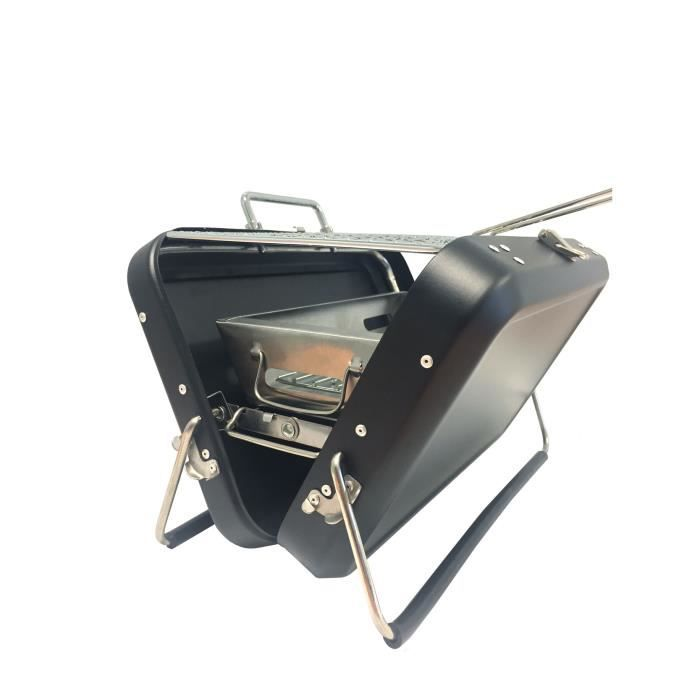 Barbecue portable à charbon avec poignée de transport acier inoxydable dimensions 22 x 31,5 x 7,5 cm - Noir