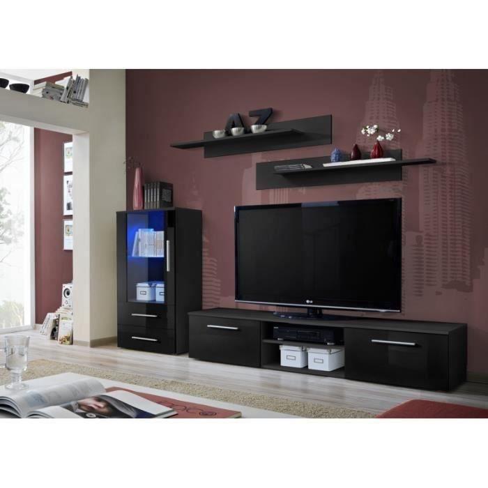 Ensemble meuble de salon GALINO H design, coloris noir mat et noir brillant. Meuble moderne et tendance pour votre salon.