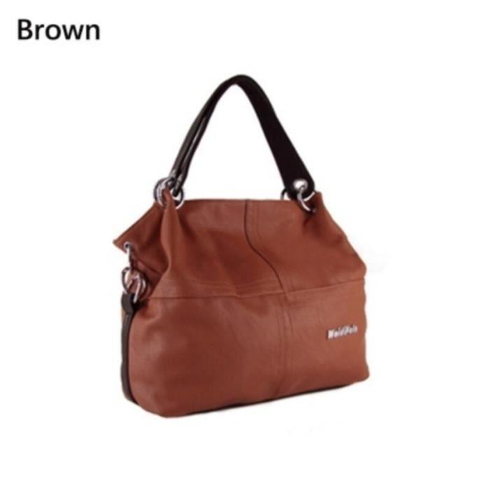 Couture femmes sac à bandoulière souple en cuir PU sacs à main grande capacité femmes fourre-tout sacs de message - Brown - MIKE1539