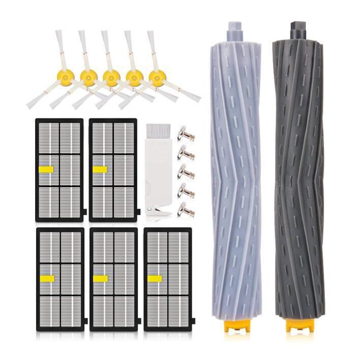Kupton Kit de remplacement pour aspirateurs Roomba iRobot séries 800 et 900 avec 5 filtres Hepa + 5 filtres pour brosse latérale + 2