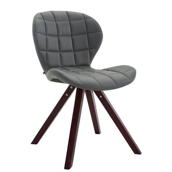 Admirable Chaise visiteur gamme Saint-Georges cuir synthetique carre cappuccino (chene) couleur gris