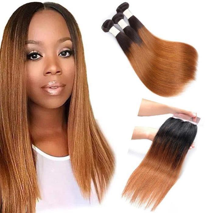 Péruviens Cheveux humains lisse 3 faisceaux avec Lace Closure 1B-30 blonde colorée-(18-20-22-+14-closure)