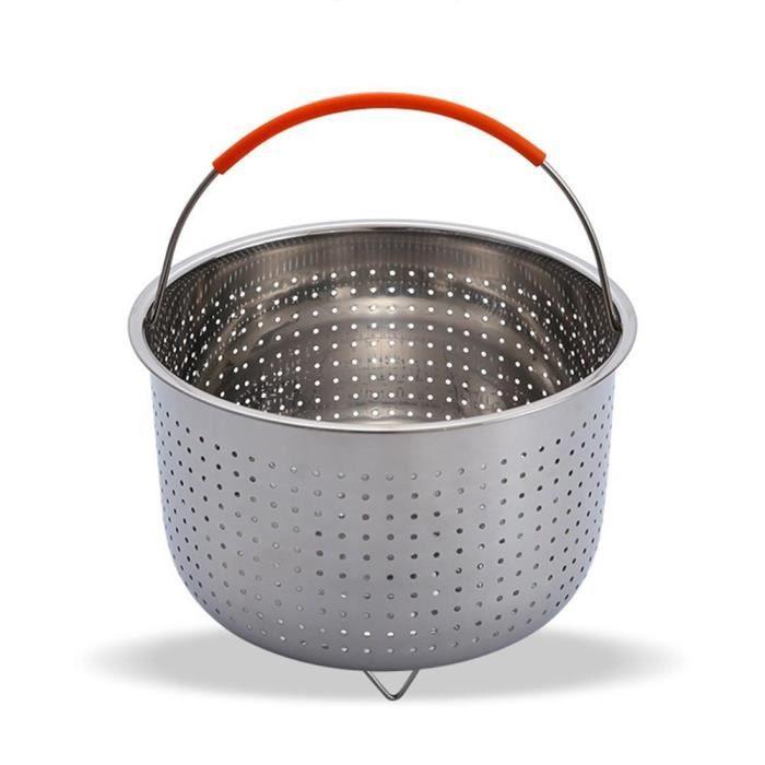Cuiseurs vapeur,Épaissir l'approfondissement multi fonction panier en acier inoxydable fruits Plug in Silicone poignée - Type 3Qt #D