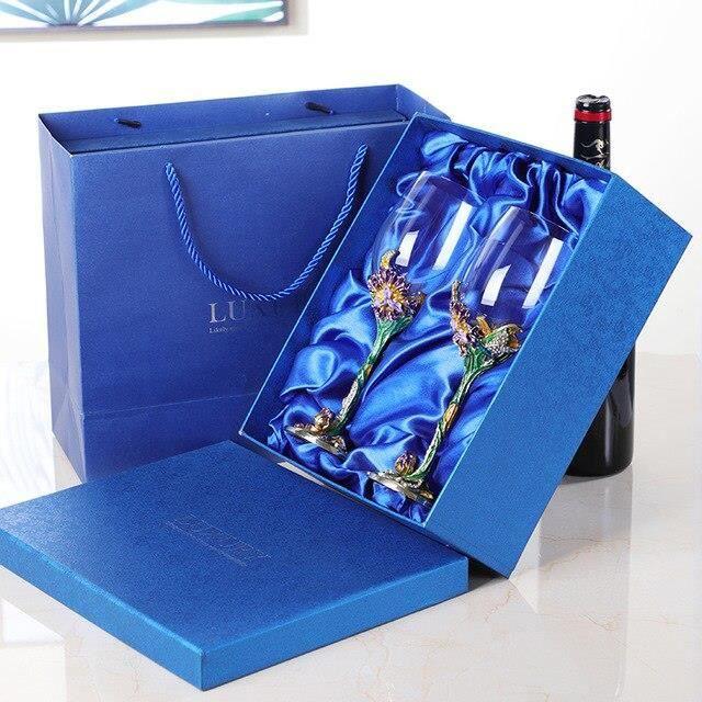 Carafes vin,UNTIOR 1500ML cristal verre gobelet vin décanteur Style européen casier à vin fête cadeaux de mariage - Type 2 cups