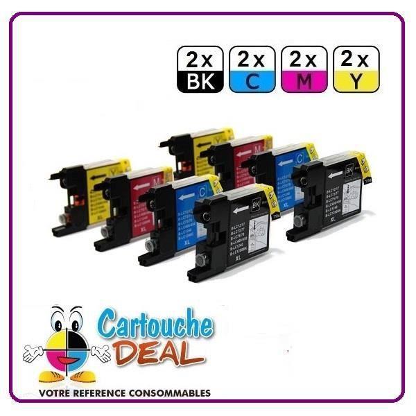 2+6 Cartouche générique compatible BROTHER LC-1240 LC-1280