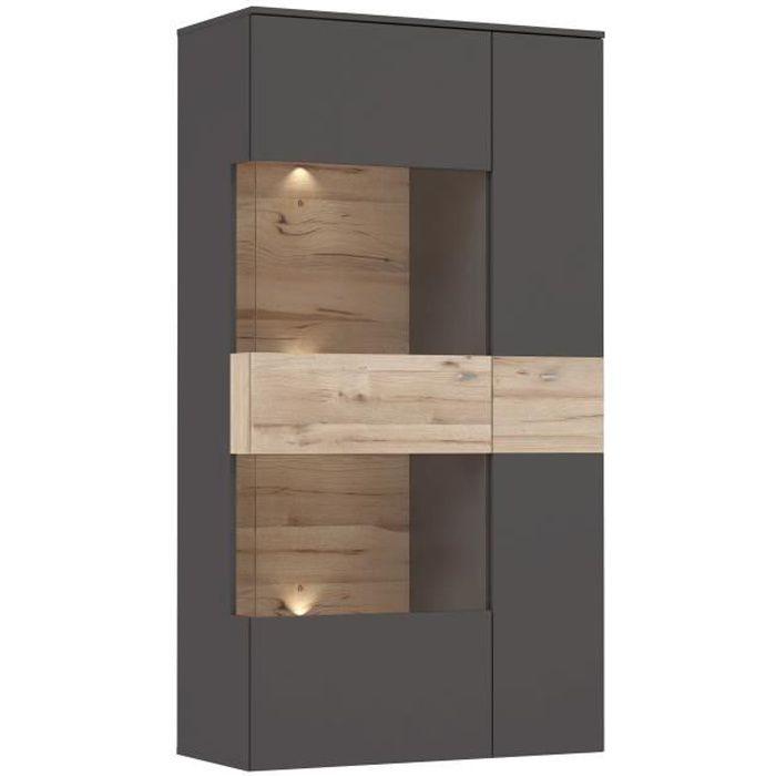Vitrine 1 porte + LED - Décor chêne et gris - L 90,1 x P 41,3 x H 168,1 cm - COMO