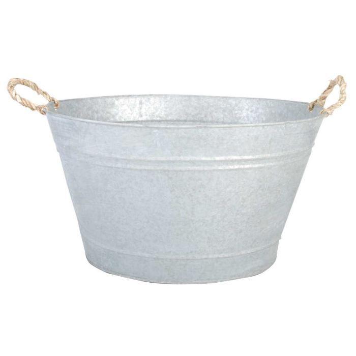 Jardinière bassine en zinc patiné 48x37x28,7cm