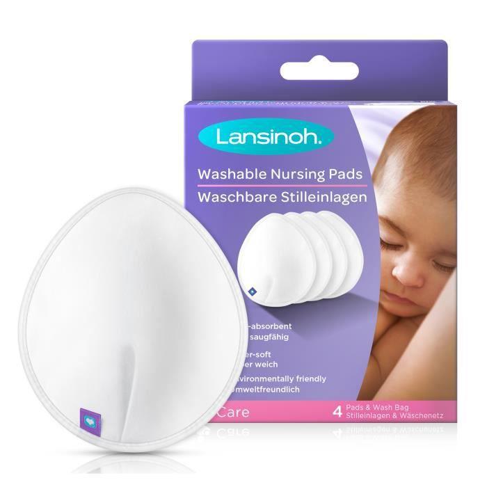 LANSINOH - Coussinets d'allaitement lavables x4 - Pour un confort & une protection maximale de jour comme de nuit