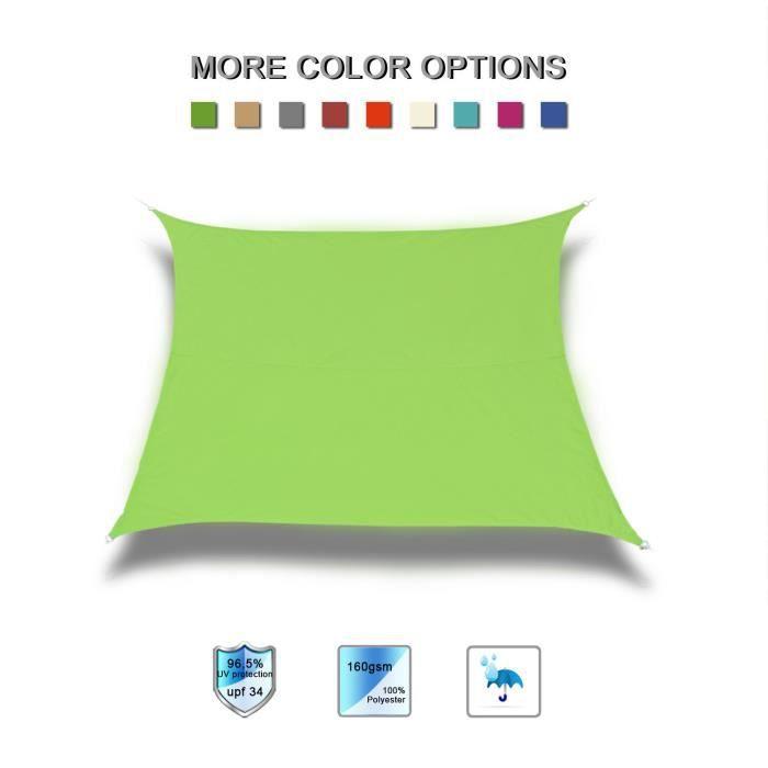 Laxllent Voile d'ombrage Carré 3X3m,Toile d'ombrage Anti UV Tissu Polyester Imperméable pour Jardin&Terrasse,Vert Clair
