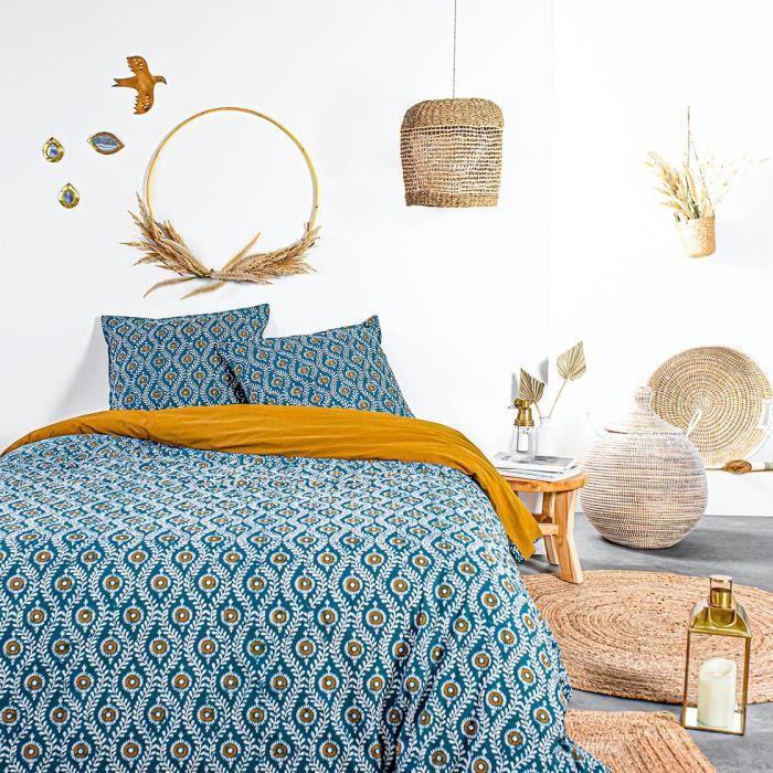 TODAY Parure de couette 220x240 cm - 100% Coton - Bleu Bohème - KERALA TODAY