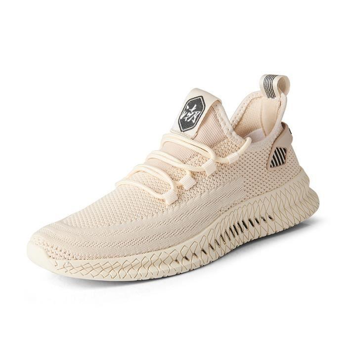 Chaussures de sport pour hommes, surface en maille respirante à la mode-blanc