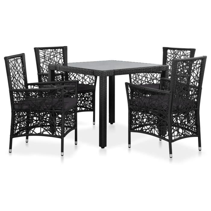 Luxueux Magnifique Moderne-Mobilier à dîner-Salon d'extérieur 5 pcs Résine tressée Noir