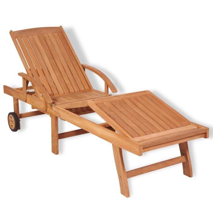 Chaise Longue de Jardin,Chaise Longue pliante,Bain de Soleil Transat Bois de teck solide