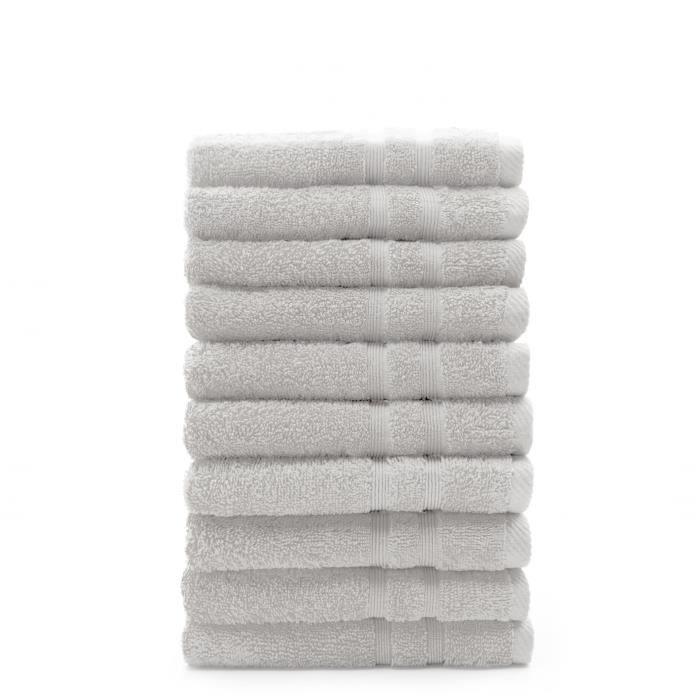 TODAY Lot de 10 Serviettes de toilette Chantilly - 100% Coton - 50 x 100 cm