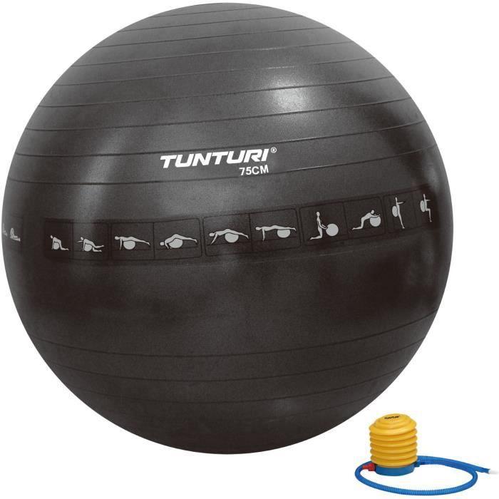 TUNTURI Gym ball ballon de gym 75cm anti éclatement noir