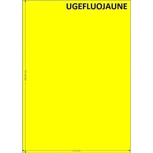 10 feuille papier adhésive A4 JAUNE FLUO 210 x 297 mm pour imprimante Laser et Jet d'encre, planche en papier autocollante idéal pou