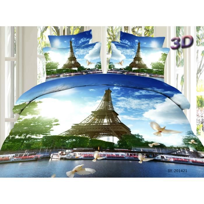 parure de lit la tour eiffel coton 200 230 cm 3d effet 4 piece achat vente housse de couette. Black Bedroom Furniture Sets. Home Design Ideas
