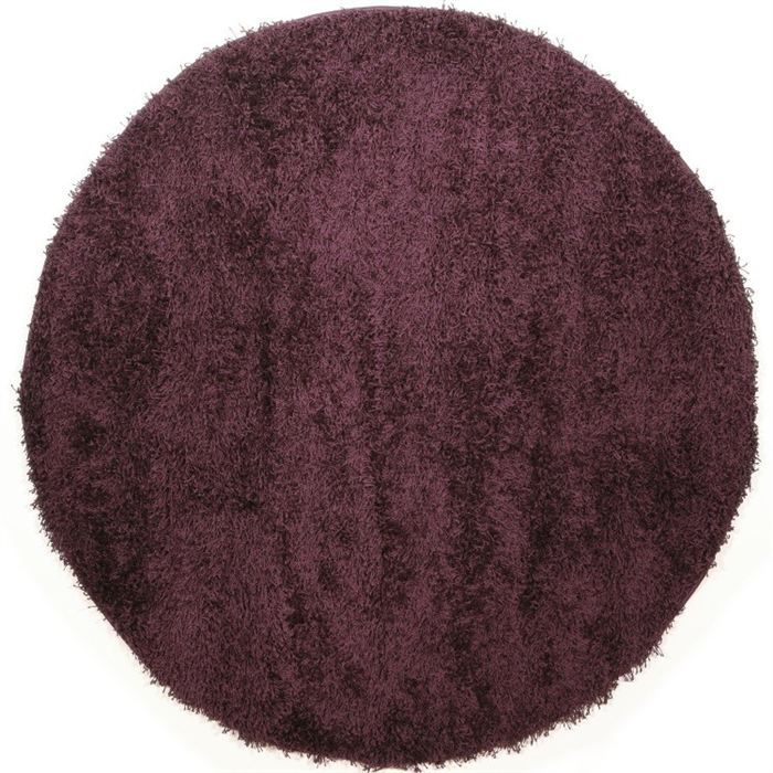 tapis shaggy rond longue m che violet 160cm achat vente tapis cdiscount. Black Bedroom Furniture Sets. Home Design Ideas