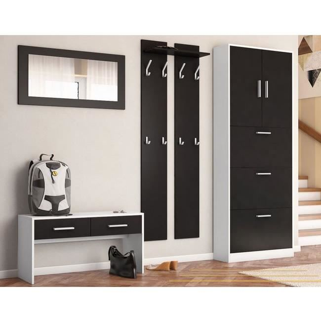 ensemble de meubles d 39 entr e blanc et noir m achat vente meuble tag re ensemble de meubles. Black Bedroom Furniture Sets. Home Design Ideas