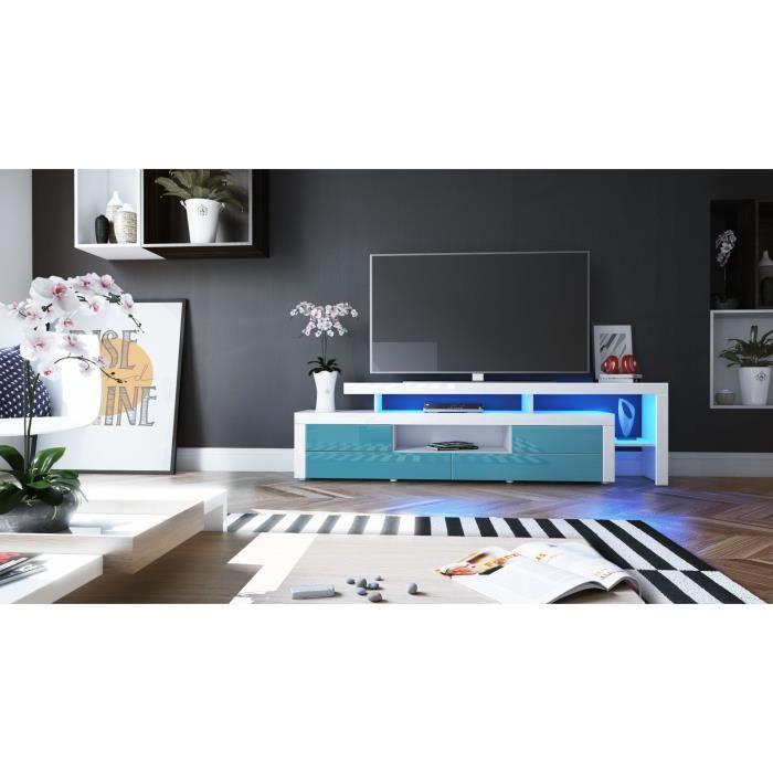 Meuble Tv Laqué Blanc Et Bleu Pétrole 4 Tiroirs Avec Led