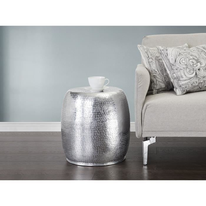 Table basse table d 39 appoint en aluminium argent for Table basse argent