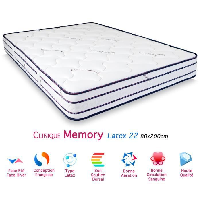 matelas clinique memory latex 22 80x200cm achat vente. Black Bedroom Furniture Sets. Home Design Ideas
