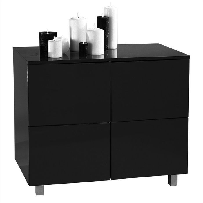 meuble de rangement concept19 4 portes noir achat. Black Bedroom Furniture Sets. Home Design Ideas