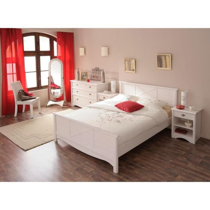 miliboo lit design blanc 2 personnes 140 x 19 achat. Black Bedroom Furniture Sets. Home Design Ideas