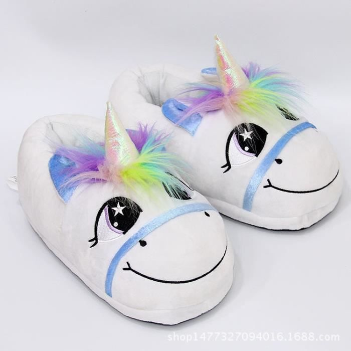 New Home Cartoon Licorne Réchauffez coton en peluche chaussons drôle Chaussons de monstre animal pour Grown Ups Indoor Chaussures