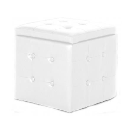pouf coffre capitonn blanc dalton achat vente pouf poire cdiscount. Black Bedroom Furniture Sets. Home Design Ideas