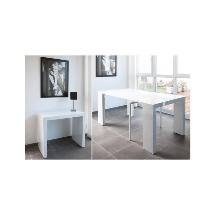 console extensible laqu e 180 cm laqu blanc ma achat. Black Bedroom Furniture Sets. Home Design Ideas