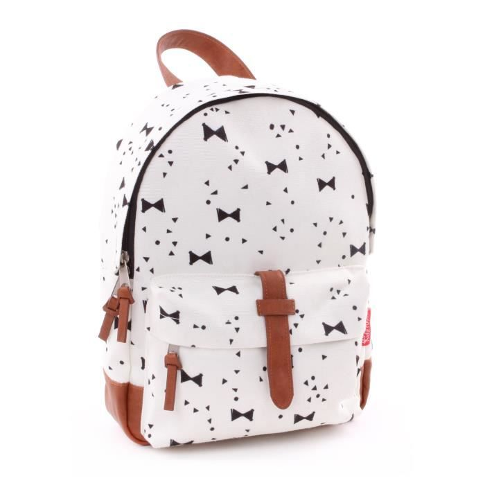 KIDZROOM Sac à dos maternelle - Black & White Nœuds