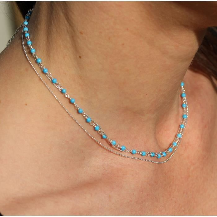 Collier Nolwenn pierres fines Turquoise et chaines argent