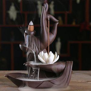 OBJET DÉCORATIF Céramique Violet Sable Zen Bouddha Brûleur Encens